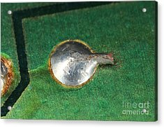 Electronics Board Solder Joint Acrylic Print by Ted Kinsman