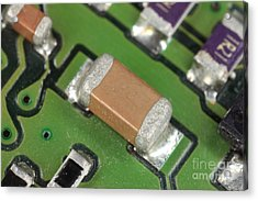 Electronics Board With Lead Solder Acrylic Print by Ted Kinsman