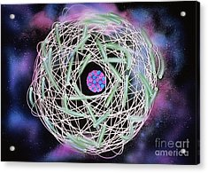 Electrons Orbiting Atom Acrylic Print by Omikron