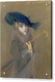 Elegant Lady Acrylic Print by Paul Cesar Helleu