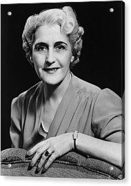 Elegant Mature Woman Smiling, (b&w), Portrait Acrylic Print by George Marks