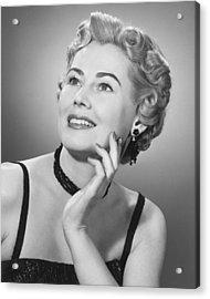 Elegant Woman Posing In Studio, (b&w), Portrait Acrylic Print by George Marks