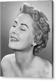 Elegant Woman Posing In Studio, Eyes Closed,  (b&w), Portrait Acrylic Print by George Marks