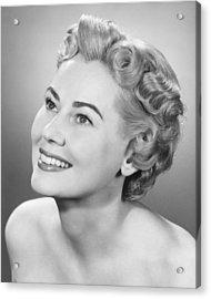 Elegant Woman Posing In Studio, Looking Up, (b&w), Portrait Acrylic Print by George Marks