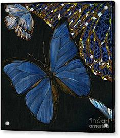 Acrylic Print featuring the painting Elena Yakubovich - Butterfly 2x2 Lower Left Corner by Elena Yakubovich