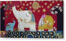 Elephant Family. Acrylic Print by Suwannee Wannasopha