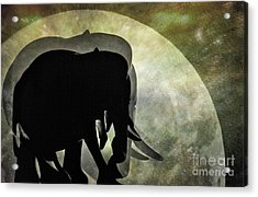 Elephants On Moonlight Walk 2 Acrylic Print by Kaye Menner