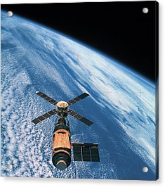 Elevated View Of A Satellite Orbiting In Space Acrylic Print by Stockbyte