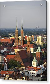 Elevated View Of Wroclaw With Church Spires Acrylic Print by Guy Vanderelst