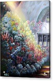 Elglish Garden Cottage Acrylic Print by Peggy Mars