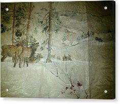 Elk Activity On A Winter Day Acrylic Print