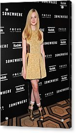 Elle Fanning Wearing A Rodarte Dress Acrylic Print by Everett