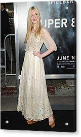 Elle Fanning Wearing A Vintage Dress Acrylic Print by Everett