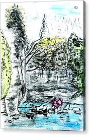 Elora Sketch Acrylic Print by Musat Iliescu