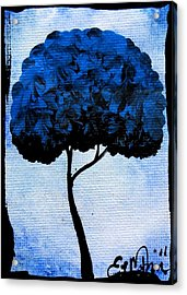 Emily's Trees Blue Acrylic Print by Oddball Art Co by Lizzy Love
