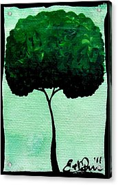 Emily's Trees Green Acrylic Print by Oddball Art Co by Lizzy Love
