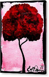 Emily's Trees Red Acrylic Print by Lizzy Love of Oddball Art Co