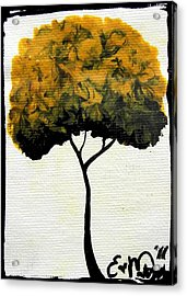Emily's Trees Yellow Acrylic Print by Oddball Art Co by Lizzy Love