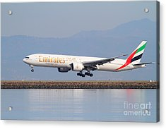 Emirates Airline Jet Airplane At San Francisco International Airport Sfo . 7d12100 Acrylic Print by Wingsdomain Art and Photography
