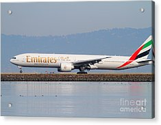 Emirates Airline Jet Airplane At San Francisco International Airport Sfo . 7d12104 Acrylic Print by Wingsdomain Art and Photography