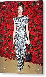 Emma Stone Wearing A Chanel Dress Acrylic Print by Everett