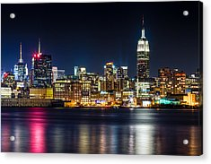 Empire State Building And Midtown Manhattan At Night Acrylic Print