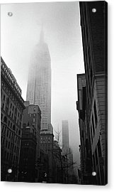 Empire State Building In Fog Acrylic Print by Adam Garelick