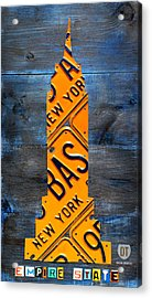 Empire State Building Nyc License Plate Art Acrylic Print by Design Turnpike