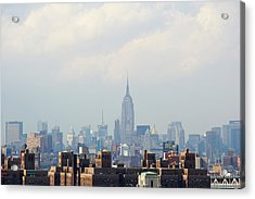 Empire State Building Seen From Lower Manhattan Acrylic Print by Ryan McVay