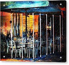 Empty Chairs And Empty Tables Acrylic Print