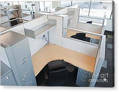 Empty Office Cubicles Acrylic Print