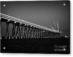 End Of The Jetty At Cloghan Point Oil Terminal In Belfast Lough Northern Ireland Uk Acrylic Print by Joe Fox