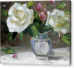English Tea Rose Acrylic Print by Chris  Saper
