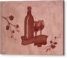 Enjoying Red Wine  Painting With Red Wine Acrylic Print by Georgeta  Blanaru