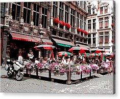 Enjoying The Grand Place Acrylic Print by Carol Groenen