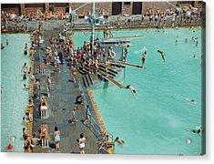 Enjoying The Pool At Jones Beach State Acrylic Print by B. Anthony Stewart