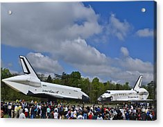 Enterprise And Discovery Acrylic Print by Lawrence Ott