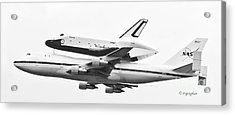 Enterprise Shuttle Nyc -black And White  Acrylic Print by Regina Geoghan