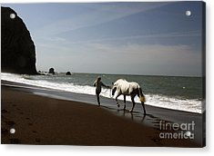 Equestrian Surf Acrylic Print by Juan Romagosa