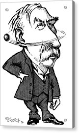 Ernest Rutherford, Caricature Acrylic Print by Gary Brown
