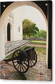 Acrylic Print featuring the painting Espiritu Santo Mission Cannon by Jimmie Bartlett