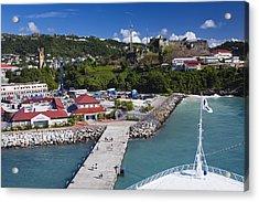 Esplanade Area From Cruise Ship At Wharf Acrylic Print by Richard Cummins