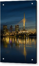 Esplanade Bridge Over Red River Acrylic Print by Mike Grandmailson