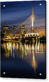 Esplanade Riel Footbridge On Red River Acrylic Print by Mike Grandmailson