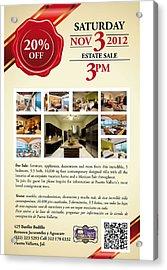 Estate Sale Flyer Acrylic Print by Unique Consignment