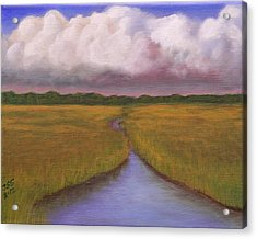 Acrylic Print featuring the painting Estuary Storm by Janet Greer Sammons