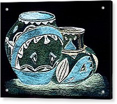 Acrylic Print featuring the painting Etched Pottery by Paula Ayers