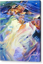 Acrylic Print featuring the painting Ethereal Koi 1 by Rae Andrews
