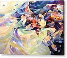 Acrylic Print featuring the painting Ethereal Koi 2 by Rae Andrews