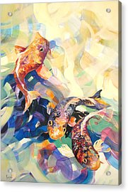 Acrylic Print featuring the painting Ethereal Koi 3 by Rae Andrews